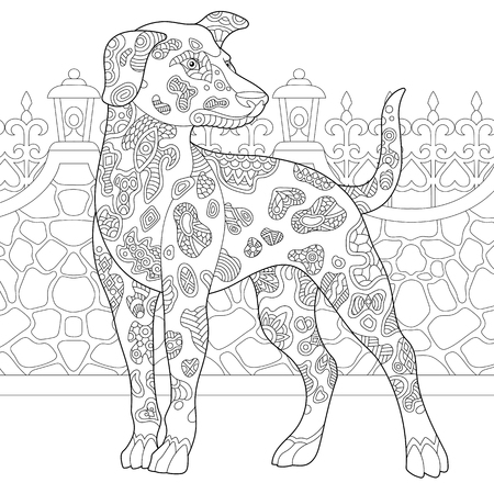Coloring page. Coloring book. Anti stress coloring picture with dalmatian dog.