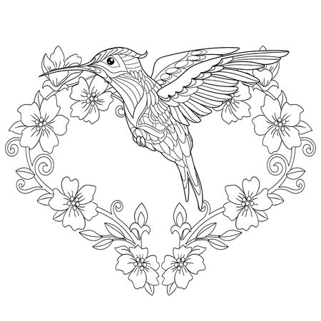 Coloring Page. Coloring Book. Colouring picture with hummingbird and flowers in heart shape. Ilustração