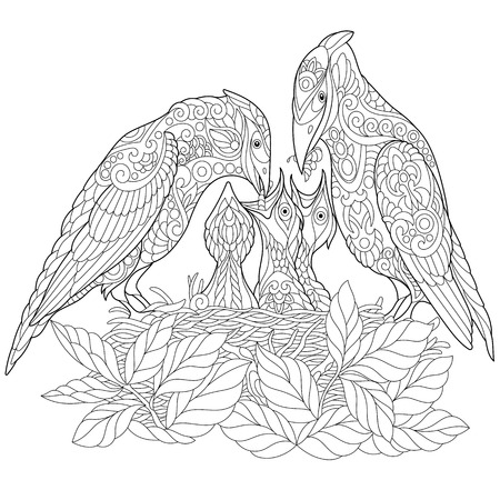 Coloring page. Coloring book. Anti stress colouring picture with spring birds. Ilustração