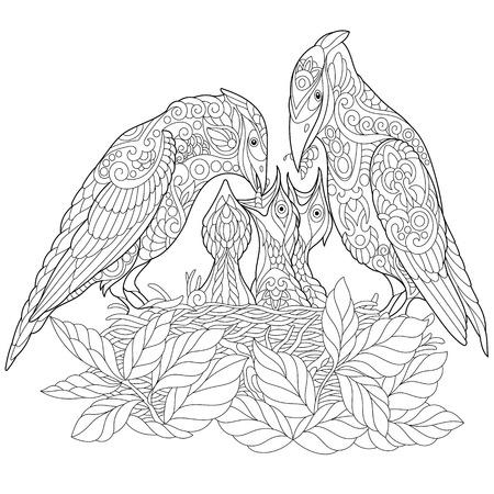 Página para colorear. Libro de colorear. Cuadro antiestrés para colorear con pájaros de primavera.