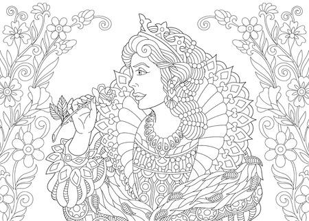 Pagina da colorare. Libro da colorare. Immagine da colorare antistress con la regina. Vettoriali
