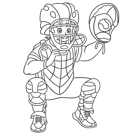 Colouring page. Cute cartoon catcher, baseball player. Childish design for kids coloring book. Ilustração