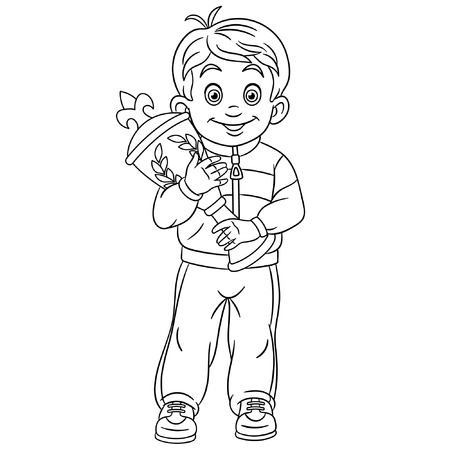 Colouring page. Cute cartoon winner in sport competitions. Boy holding award trophy. Victory and first place celebration concept. Childish design for kids coloring book.