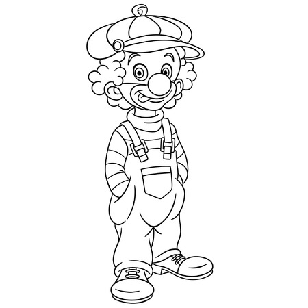 Colouring page. Cute cartoon clown. Childish design for kids coloring book. Ilustração