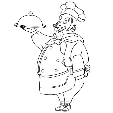Colouring page. Cute cartoon chef cook. Childish design for kids coloring book.