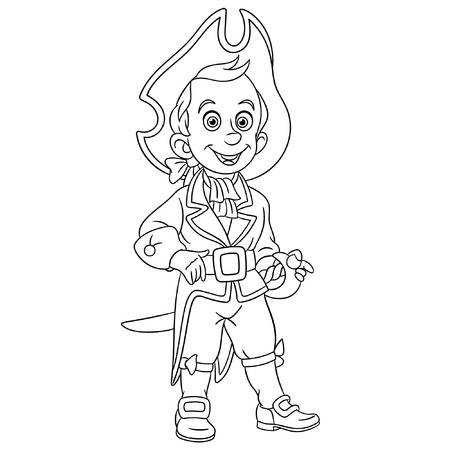 Colouring page. Cute cartoon ship sailor or pirate. Childish design for kids coloring book.