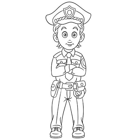 Pagina da colorare. Poliziotto simpatico cartone animato o ufficiale di polizia. Disegno infantile per libro da colorare per bambini.