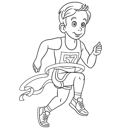 Colouring page. Cute cartoon runner who wins run marathon at the finish. Childish design for kids coloring book.