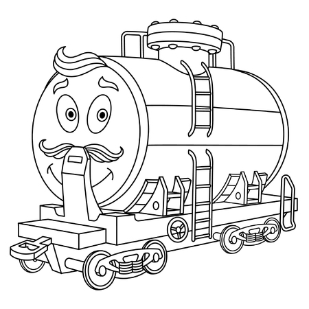 Coloring page. Colouring picture. Cute cartoon fuel tank. Rail wagon for chemical industry delivery. Childish design for kids coloring book. Stock Illustratie