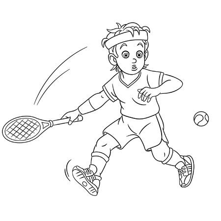 Coloriage. Joueur de tennis de dessin animé mignon. Conception enfantine pour livre de coloriage pour enfants. Vecteurs