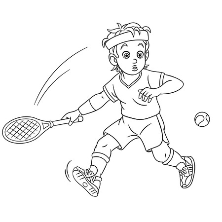 Colouring page. Cute cartoon tennis player. Childish design for kids coloring book.