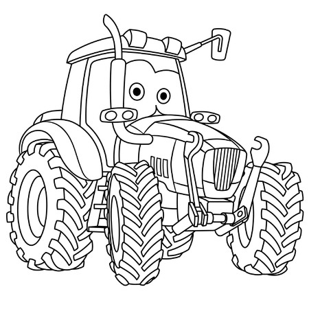 Coloring page. Colouring picture. Cute cartoon tractor. Agricultural farming vehicle. Childish design for kids coloring book.