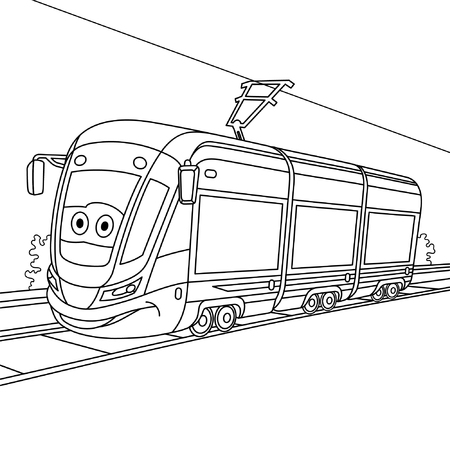 Coloring page. Colouring picture. Cute cartoon tram. Electric trolley car on railroad. Childish design for kids coloring book. 矢量图像