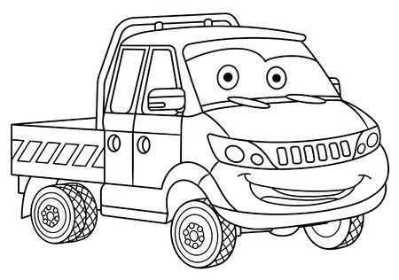 Coloring page. Colouring picture. Cute cartoon delivery truck. Cargo business van. Childish design for kids coloring book.