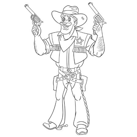 Colouring page. Cute cartoon cowboy, retro american sheriff firing a gun. Childish design for kids coloring book about people professions. Banco de Imagens - 129818621