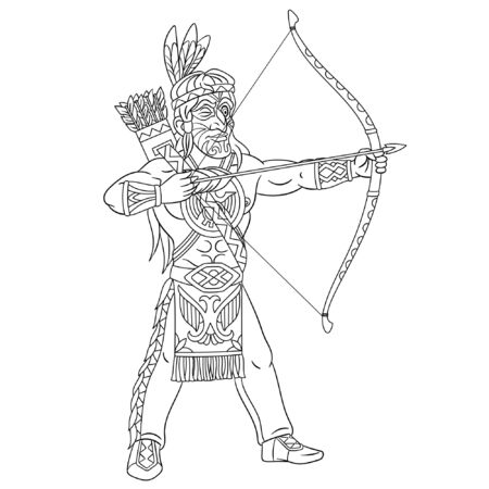 Colouring page. Cute cartoon native american indian man aiming with bow and arrow. Childish design for kids coloring book about historical people.