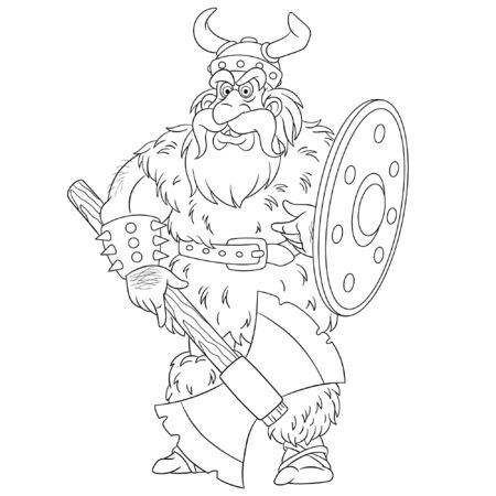 Colouring page. Cute cartoon viking, legendary scandinavian warrior. Childish design for kids coloring book about historical people.