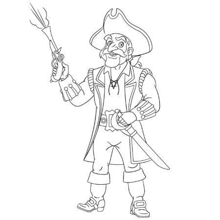 Colouring page. Cute cartoon ship sailor or pirate firing a gun. Childish design for kids coloring book about historical people. 일러스트