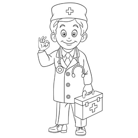 Colouring page. Cute cartoon doctor, young doc with first aid kit showing okay hand sign. Childish design for kids coloring book about people professions. Ilustração