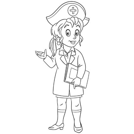 Colouring page. Cute cartoon nurse, young female doctor. Childish design for kids coloring book about people professions.