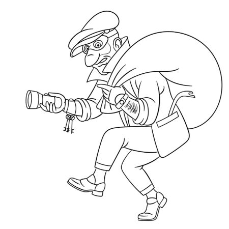 Colouring page. Cute cartoon thief running with a bag, criminal housebreaker. Childish design for kids coloring book about people professions. Vecteurs