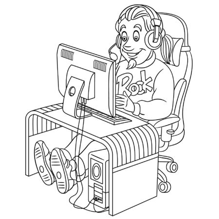 Colouring page. Cute cartoon video gamer, cyber e-sport professional in work. Childish design for kids coloring book about people professions.