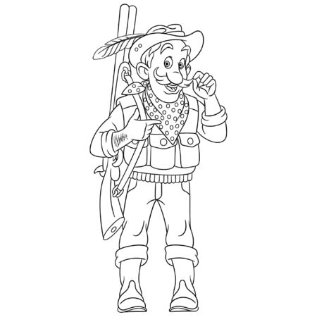 Colouring page. Cute cartoon hunter or forester with a rifle gun. Childish design for kids coloring book about people professions. Imagens - 133814727