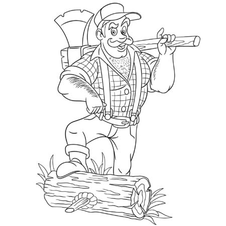 Colouring page. Cute cartoon lumberjack, strong brutal man holding axe. Childish design for kids coloring book about people professions.