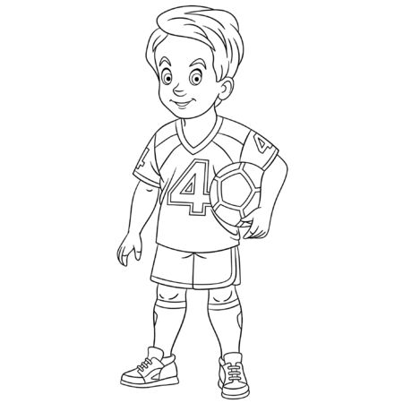 Colouring page. Cute cartoon footballer, young boy playing football. Childish design for kids coloring book about people professions. Banco de Imagens - 129818627
