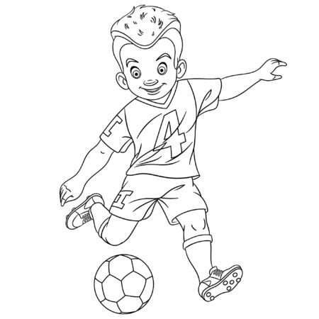 Colouring page. Cute cartoon footballer, young boy playing football. Childish design for kids coloring book about people professions. Illustration