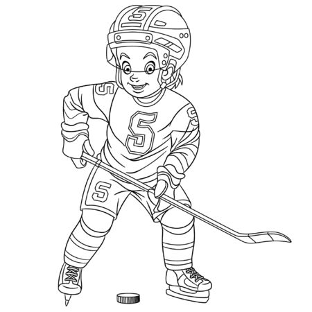 Colouring page. Cute cartoon hockey player, young boy playing winter team game. Childish design for kids coloring book about people professions. Banco de Imagens - 129818629