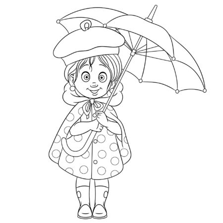 Colouring page. Cute cartoon girl with umbrella, hello rainy autumn concept. Childish design for kids coloring book about people lifestyle.