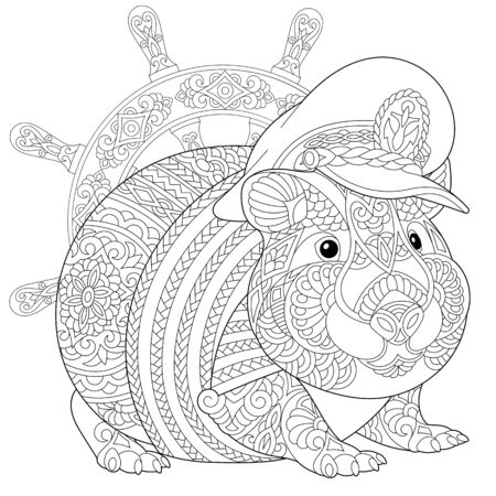 Nautical coloring page. Anti stress colouring picture with hamster or guinea pig as a navy captain. Freehand sketch drawing with doodle