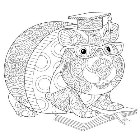 Monochrome colouring picture with hamster or guinea pig reading a book. Freehand coloring page with doodle