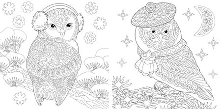 Set of two colouring pictures with owls in cute winter hats. Freehand coloring page with doodle
