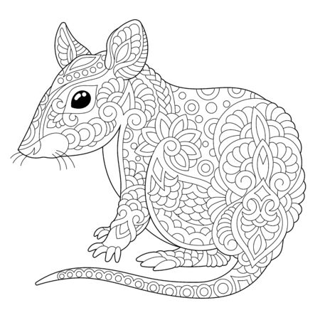 Monochrome colouring picture with mouse. Rat - 2020 year symbol in Chinese zodiac calendar. Freehand coloring page with doodle Vector Illustration