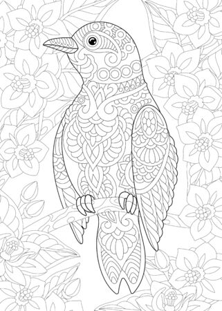Coloring page. Coloring picture of beautiful bird among flowers. Line art design for adult colouring book with doodle