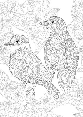 Página para colorear. Dibujo para colorear de dos pájaros entre flores. Diseño de arte lineal para libro de colorear para adultos con doodle