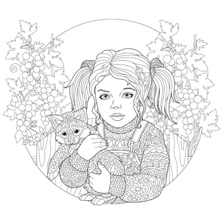 Coloring page. Coloring picture of girl embracing little cat. Line art design for adult colouring book with doodle