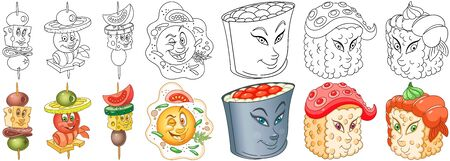 Cartoon Snack and Sushi Collection. Coloring pages and colorful designs for coloring book, t-shirt print, icon,  label, patch, sticker. Vector illustrations. Illustration