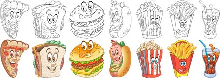 Cartoon Fast food Collection. Coloring pages and colorful designs for coloring book, t-shirt print, icon,  label, patch, sticker. Vector illustrations. Stock Illustratie