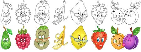 Cartoon Fruits Collection. Coloring pages and colorful designs for coloring book, t-shirt print, icon, label, patch, sticker. Vector illustrations.