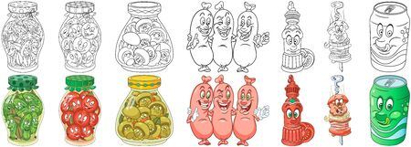 Cartoon Homemade and Picnic Food Collection. Coloring pages and colorful designs for coloring book, t-shirt print, icon,  label, patch, sticker. Vector illustrations.