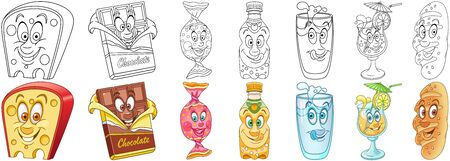 Cartoon Snack Collection. Food and Drink. Coloring pages and colorful designs for coloring book, t-shirt print, icon,  label, patch, sticker. Vector illustrations.