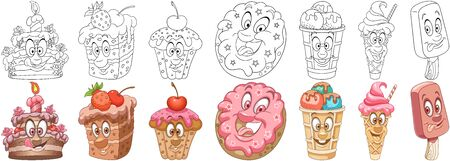 Cartoon Sweet Dessert Food Collection. Coloring pages and colorful designs for coloring book, t-shirt print, icon,  label, patch, sticker. Vector illustrations. Illustration