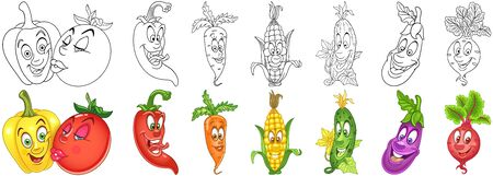 Cartoon Vegetables Collection. Coloring pages and colorful designs for coloring book, t-shirt print, icon, label, patch, sticker. Vector illustrations.