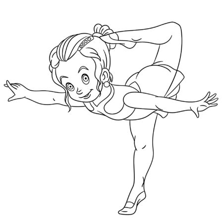 Colouring page. Cute cartoon girl practicing rhythmic gymnastic or ballet dancer. Childish design for kids coloring book about people professions.