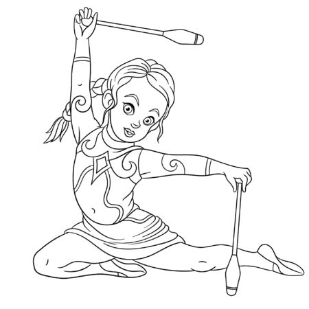 Colouring page. Cute cartoon girl practicing rhythmic gymnastic with juggling clubs. Childish design for kids coloring book about people professions.