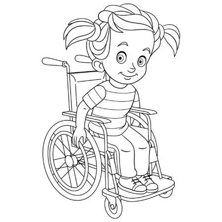 Página para colorear. Linda chica de dibujos animados en silla de ruedas. Niño discapacitado. Diseño infantil para niños para colorear libro sobre el cuidado de la salud de las personas.
