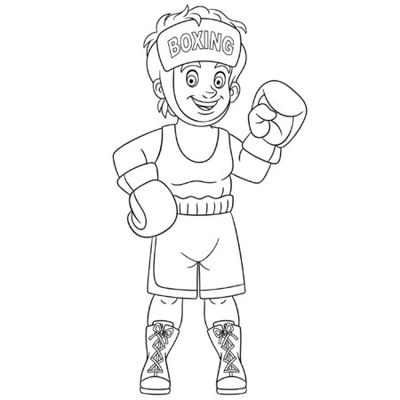 Coloring page. Coloring picture. Cartoon boy boxer fighting. Childish design for kids activity colouring book about people professions. Archivio Fotografico - 134434736